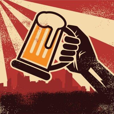 Плакат Рука пиво делает тост плакат