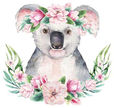 Плакат A poster with a koala. Watercolor cartoon koala tropical animal illustration. Jungle exotic summer print.