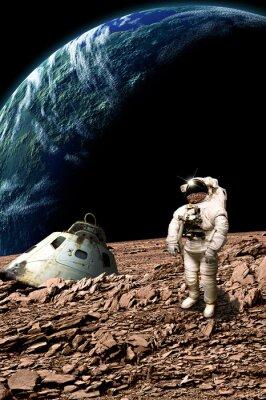 Плакат Многожильный астронавт обследует его ситуацию - элементы этого изображения, предоставленную NASA.