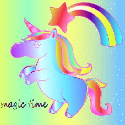 Плакат Единорог и радуга на ярком неоновом фоне - волшебное время. Яркий детский сказочный плакат