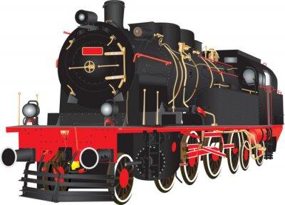 Плакат Ветеран Тяжелый Паровой Грузовой железнодорожный локомотив, изолированных на белом
