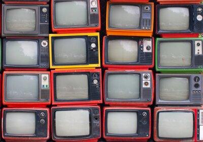Плакат Стена старых телевизоров старинных труб