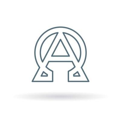 Плакат Абстрактные альфа и омега значок. Начало и конец знака. Греческий альфа и омега символ. Альфа и Омега логотип. значок Тонкая линия на белом фоне. Векторная иллюстрация.