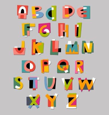 Плакат Аннотация алфавит шрифта. Бумага вырез стиль