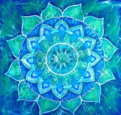 Плакат абстрактный синий нарисованное изображение с узором круг, мандала Вишудха чакры