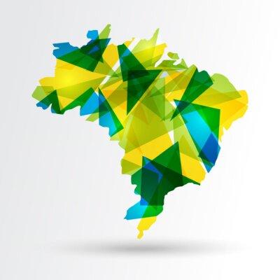 Плакат Abstract Brazil map