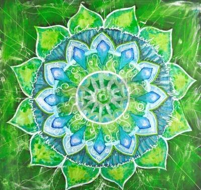 Плакат абстрактный зеленый нарисованное изображение с узором круг, мандала анахатой