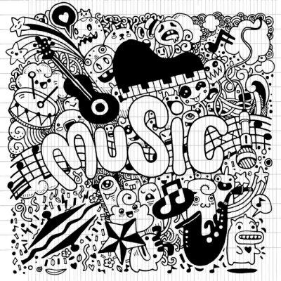 Плакат Абстрактный музыкальный фон Рука рисования Doodle, вектор Illustratio