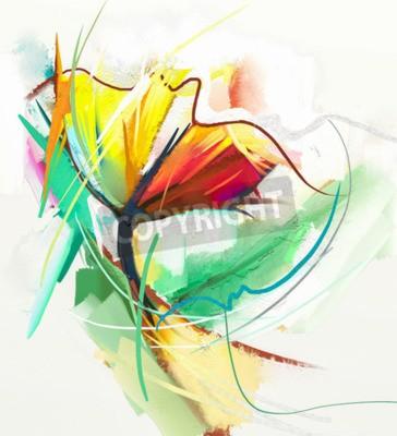 Плакат Абстрактная живопись маслом весенних цветов. Натюрморт желтого и красного цвета. Аннотация Современный импрессионист. Живопись цветов. Цветочная декоративная живопись