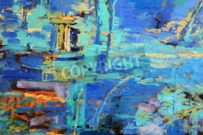 Плакат Абстрактная картина маслом с преобладанием блюза