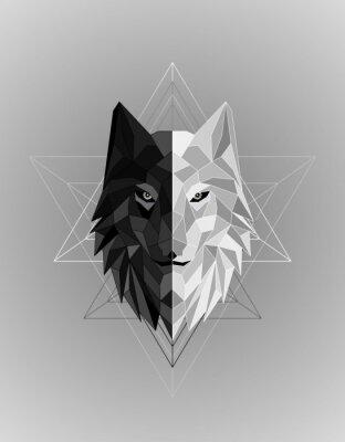 Плакат Abstract polygonal wolf head design