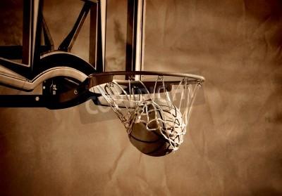 Плакат Действие выстрел баскетбол переживает обруча баскетбола и сети