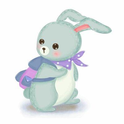 Плакат adorable blue bunny illustration for nursery decoration
