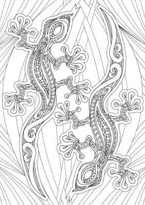 Плакат Книжка-раскраска для взрослых - иллюстрации. набор татуировки: Lizrds. Векторная иллюстрация.
