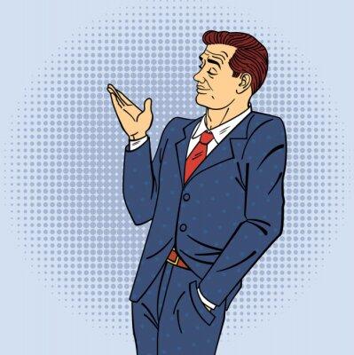 Плакат Реклама Человек в стиле поп-арт Указывая рукой на свой продукт