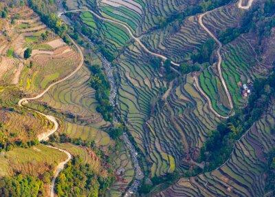 Плакат Вид с воздуха на рисовых полях близ Покхара