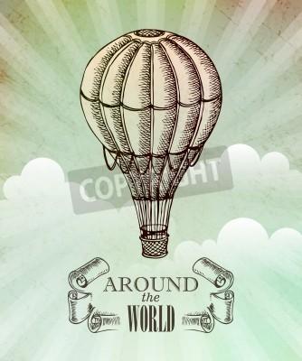 Плакат Аэрокосмический приключение. Вектор старинные иллюстрации с воздушного шара EPS 10