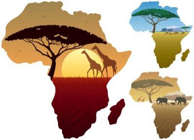 Плакат Африка Карта Пейзажи / Три африканские пейзажи на карте Африки.