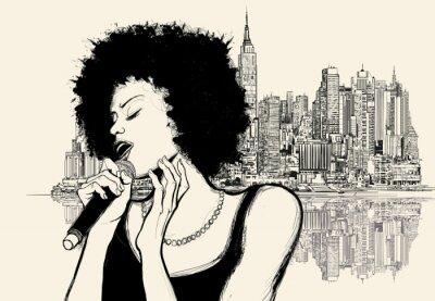 Плакат афро американский джазовый певец