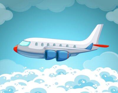 Плакат Самолет летит в небе