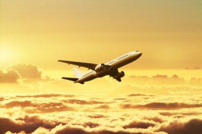 Плакат Самолет в небе на закате