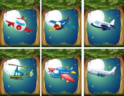Плакат Самолеты и вертолеты, выполняющие рейсы в ночное время