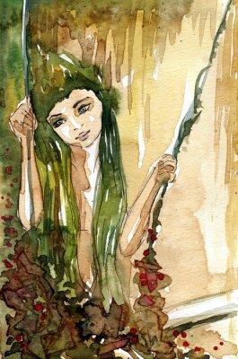 Плакат Akwarela dziewczyny па huśtawce