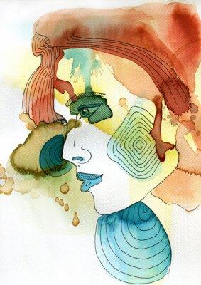 Плакат Akwarelowy Portret Kobiety