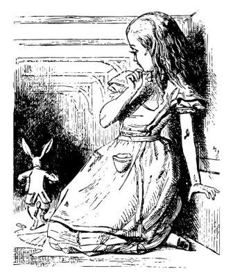 Плакат Alice Watches the White Rabbit Run Away vintage illustration