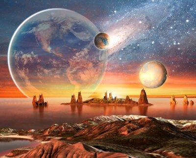 Плакат Чужой Планета Земля с Луной и горы