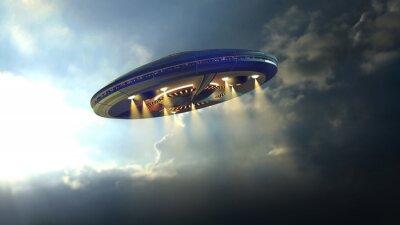 Плакат Чужой НЛО блюдце летать через облака над Землей