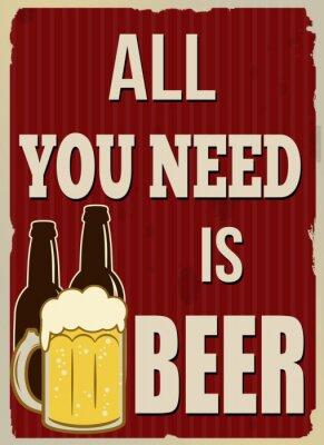 Плакат Все, что вам нужно, это пиво ретро постер