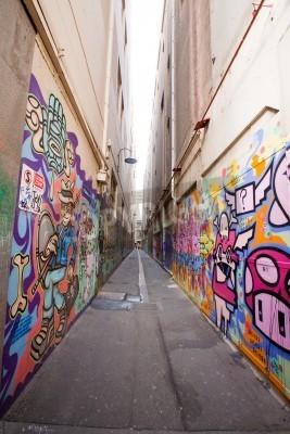 Плакат Аллея в Мельбурне со многими граффити на стене