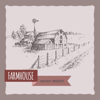 Плакат Американский дом фермы, сарай и пастбищ векторный рисунок.