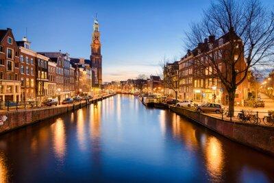 Плакат Амстердам ночью, Нидерланды