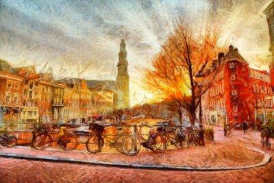 Плакат Амстердам канал на вечернем импрессионистической живописи