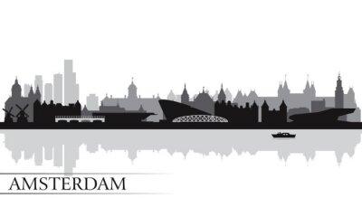 Плакат Город Амстердам горизонт фоне силуэта