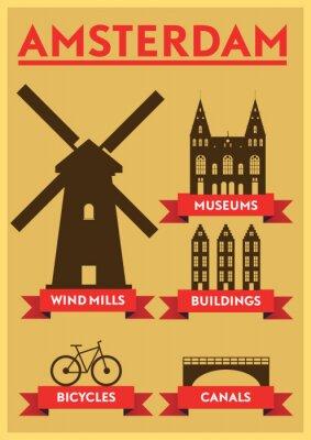 Плакат Amsterdam City Типография Дизайн