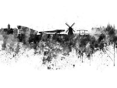 Плакат Амстердам горизонта черной акварелью в