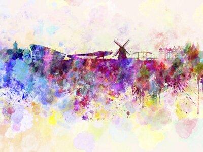 Плакат Амстердам горизонты в фоне акварель