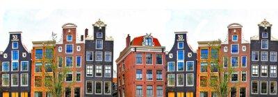 Плакат Амстердам. традиционные дома границы
