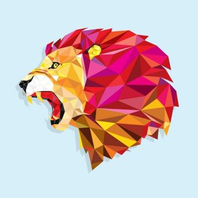 Плакат Angry lion with geometric pattern- Vector illustration