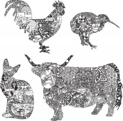 Плакат Животные в этнических украшений