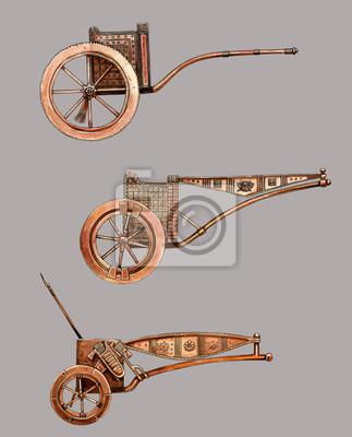 Плакат Antique chariot. Egyptian bronze chariot. Acylic illustration.