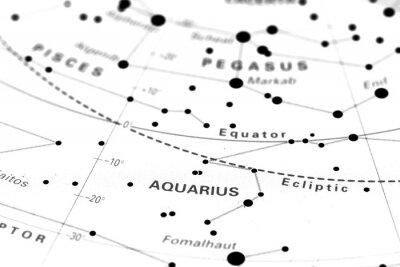 Плакат Водолей карта звездного знаки. Знак зодиака Водолей на астрономии звездной карте.