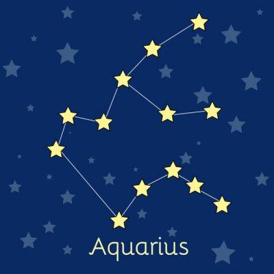 Плакат Водолей Вода зодиака созвездие со звездами в космосе. Векторное изображение