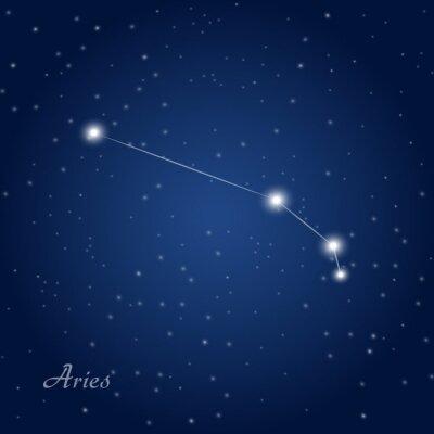 Плакат Овен созвездие знак зодиака на звездное ночное небо