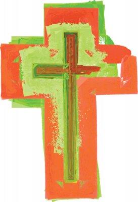 Плакат Художественный стиль акварель абстрактный красочный современный зеленый и красный крест
