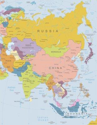 Плакат Азиатско-высоко детализированные map.Layers используемые.