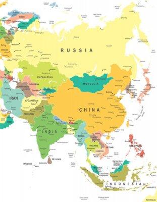 Плакат Азия - карта - иллюстрации. Азия карта - очень подробные векторные иллюстрации.